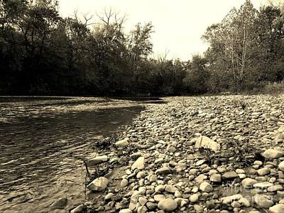 Indiana Rivers Digital Art - A Rivers Journey - Sepia by Scott D Van Osdol