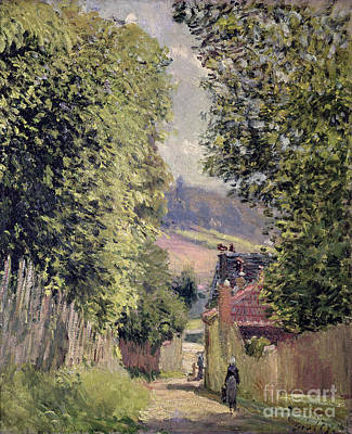 Alfred Sisley Painting - A Road In Louveciennes by Alfred Sisley