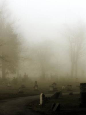 Graveyard Road Photograph - A Road Through The Fog Soaked Graveyard by Gothicrow Images