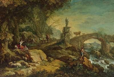 Bridge Painting - A Rocky Landscape With A Bridge, Travellers, Sheep And An Angler. by Francesco Zuccarelli