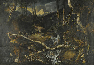 Landscape With Rocks Painting - A Rocky Mountainous Landscape With A Torrent by Anton Faistenberger