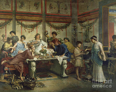 Roberto Painting - A Roman Feast by Celestial Images