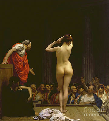 Jessica Alba Wall Art - Painting - A Roman Slave Market, Jean Leon Gerome by Thomas Pollart