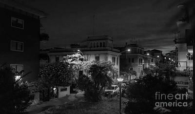 A Roman Street At Night Art Print