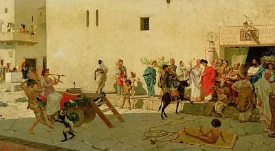 Crowd Scene Painting - A Roman Street Scene With Musicians And A Performing Monkey by Modesto Faustini