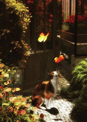 Painting - A Romantic Cat Loves Butterflies by Jan Keteleer