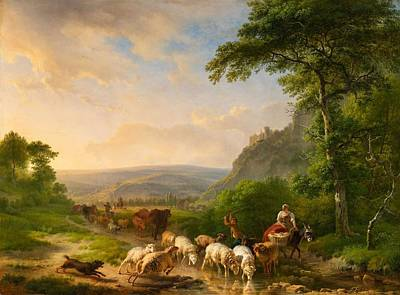 Balthasar Painting -  A Romantic Landscape With Shepherds by Balthasar Paul