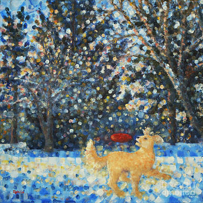 Winter Scene Painting - A Romp In The Yard by Jim Rehlin