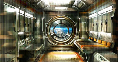 Digital Art - A Room On The Station by Mario Carini