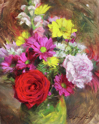 Red Rose Wall Art - Painting - A Rose Among Daisies by Anna Rose Bain
