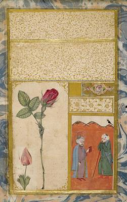 18th Century Painting - A Rose And Nightingale by Abdullah Bukhari