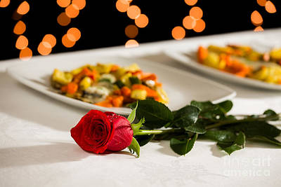 Tableware Photograph - A Rose For Valentine's Day by Luigi Morbidelli