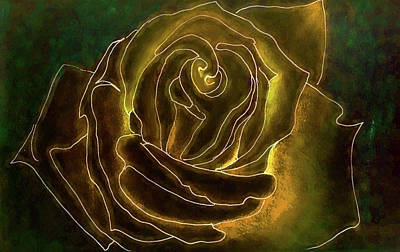 Mixed Media - A Rose In Gold by Mary Bedy