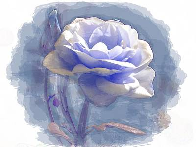 Painting - A Rose In Pastel Blue by Joy of Life Art Gallery