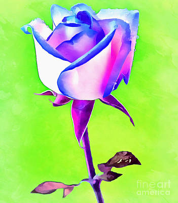 Abstract Digital Photograph - A Rose Of A Different Color by Krissy Katsimbras