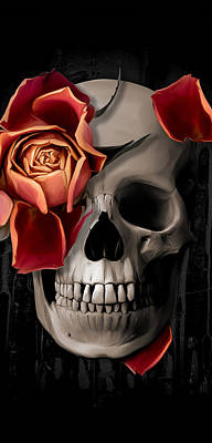 Bone Wall Art - Digital Art - A Rose On The Skull by Canvas Cultures