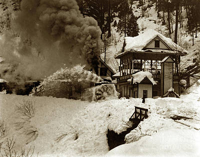 Photograph - A Rotary Plow Clearing The Tracks In The Winter Of 1895 by California Views Mr Pat Hathaway Archives