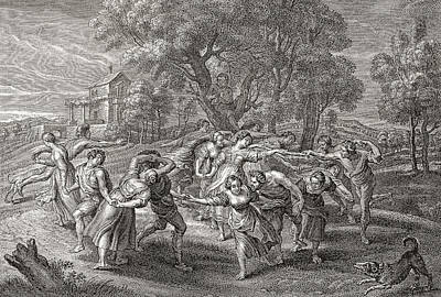 Enjoyment Drawing - A Round Dance, After An Engraving by Vintage Design Pics