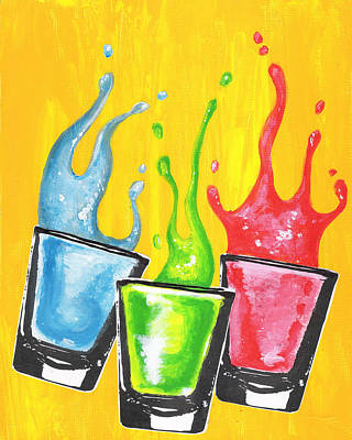 Lemon Drops Painting - A Round Of Shots by Alberto Nolazco