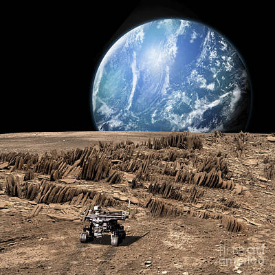 Soil Digital Art - A Rover Explores A Rocky, Barren Moon by Marc Ward
