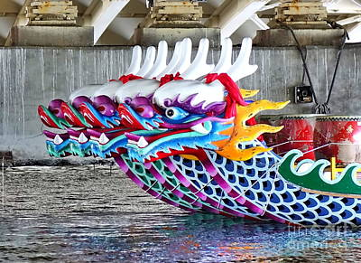 Photograph - A Row Of Traditional Dragon Boats by Yali Shi