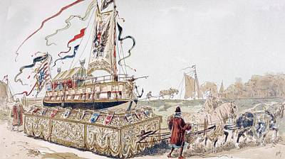 Wagon Wheels Drawing - A Royal Barge Being Pulled On A Wagon by Vintage Design Pics