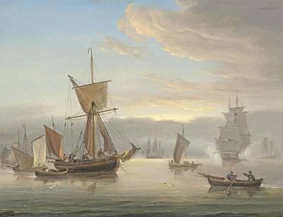A Royal Navy Frigate Firing A Salute Art Print