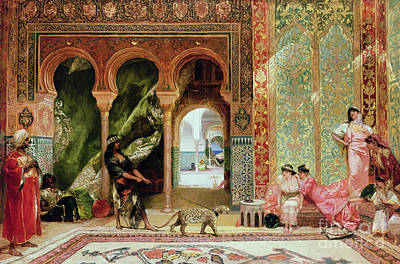 By Women Painting - A Royal Palace In Morocco by Benjamin Jean Joseph Constant