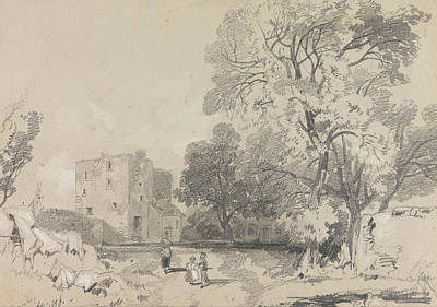Drawing - A Ruined Tower House by Edward Lear