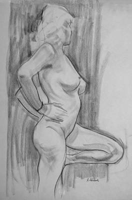 Drawing - A Russian Blonde, Figure In Profile by Robert Holden