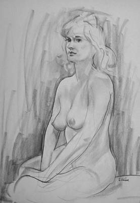 Drawing - A Russian Blonde, Looking Forward by Robert Holden