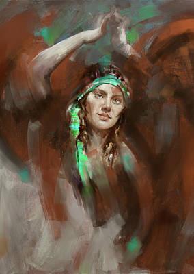 Russian Girl Wall Art - Painting - a russian dancing girl 180 IV by Mawra Tahreem