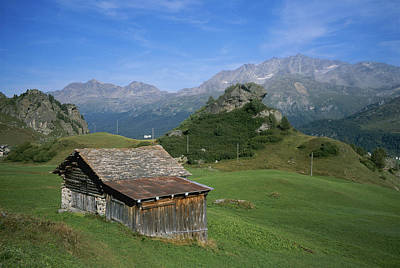 A Rustic Mountain Hut High In The Swiss Print by Taylor S. Kennedy