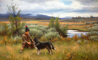 A Saami Boy Playing With His Dog Art Print