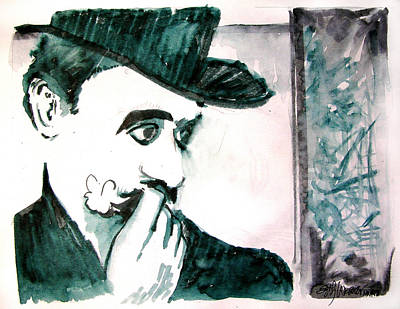 Drawing - A Sad Portrait Of Chaplin by Seth Weaver
