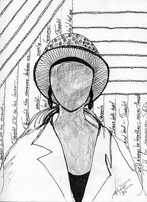 Drawing - A Sad Woman by Angela L Walker