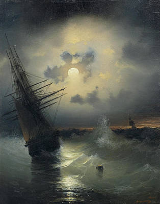 High Seas Painting -  A Sailing Ship On A High Sea By Moonlight by MotionAge Designs
