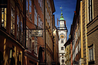 City Hall Photograph - A Salzburg Street  by Carol Japp