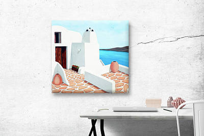 Painting - Santorini Getaway, Beveled Sided Gallery Canvas-original Oil Painting For Sale by Mary Grden Fine Art Oil Painter Baywood Gallery