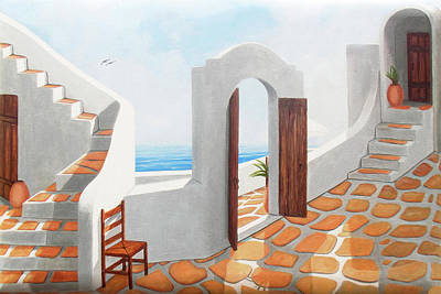 Pots Painting - A Santorini View Original Oil Painting For Sale - Prints Available by Mary Grden Fine Art Oil Painter Baywood Gallery