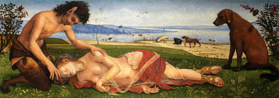 A Satyr Mourning Over A Nymph Art Print by Piero di Cosimo