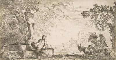 Relief - A Satyr Reclining At The Foot Of A Staute Of Priapus, Goats At The Right by Giovanni Benedetto Castiglione