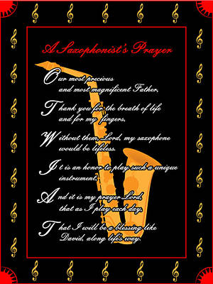 Digital Art - A Saxophonists Prayer_1 by Joe Greenidge