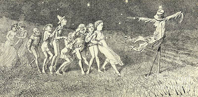 Horror Drawing - A Scarecrow by Charles Altamont Doyle
