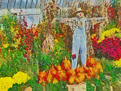 Digital Art - A Scarecrow Protecting The Autumn Harvest by Digital Photographic Arts