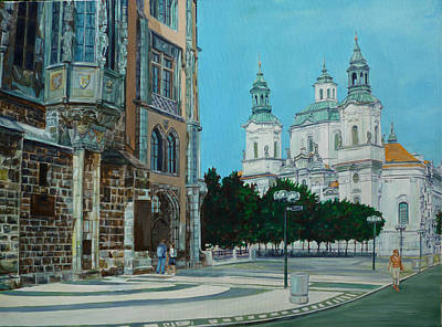 Painting - A Scene In Prague by Bryan Bustard