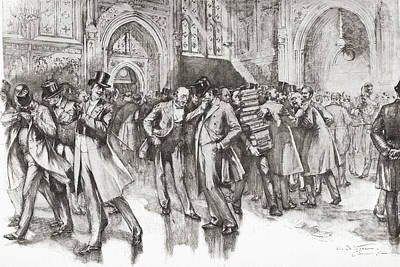 Hallway Drawing - A Scene In The Members Lobby, Palace Of by Vintage Design Pics