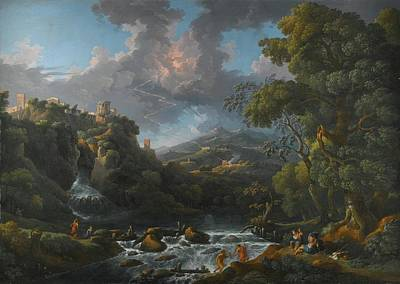 A Scene In The Roman Campagna With A Capriccio View Of Tivoli And A Bolt Of Lightning Print by MotionAge Designs