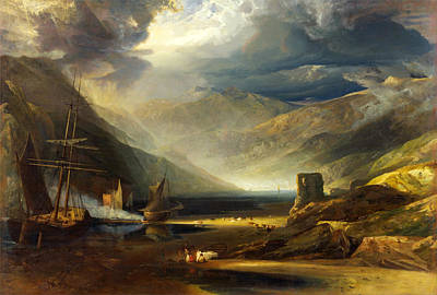 Copley Fielding Painting - A Scene On The Coast Merionethshire. Storm Passing Off by Anthony Vandyke Copley Fielding