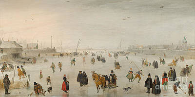 A Scene On The Ice, Art Print by Hendrik Avercamp